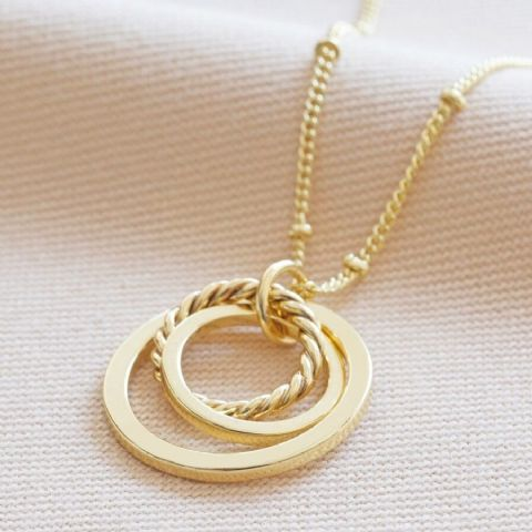 GOLD MIXED SIZE INTERLOCKING RING NECKLACE
